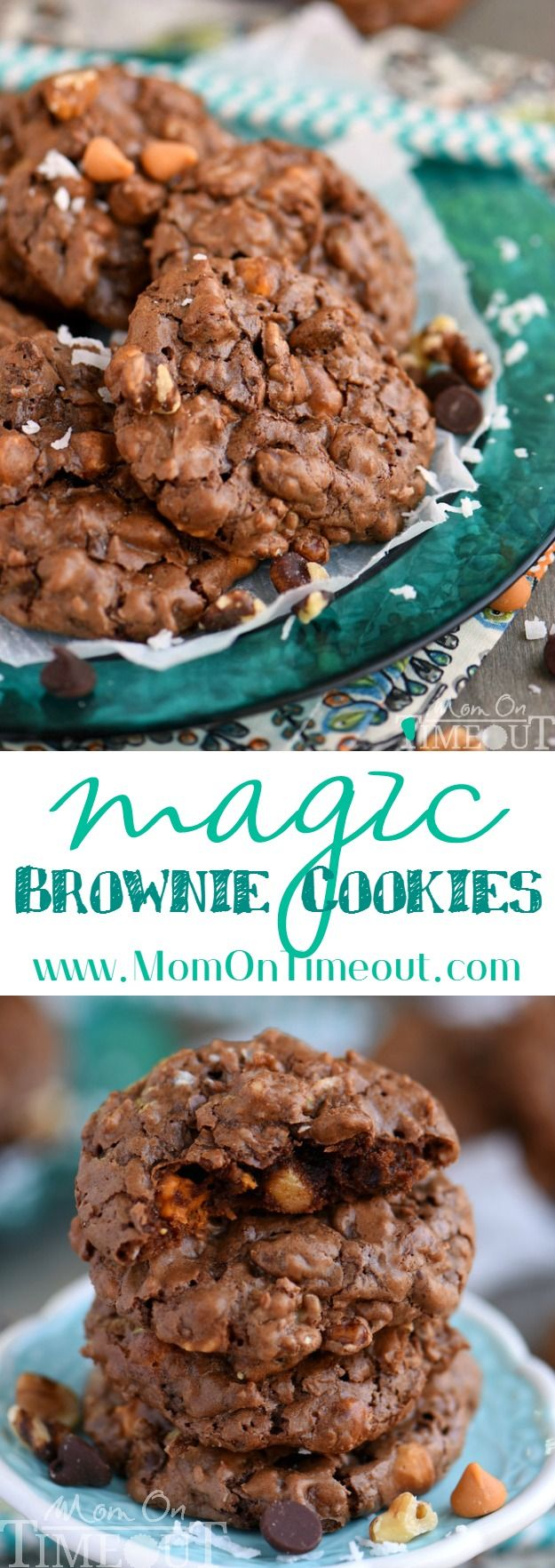 These Magic Brownie Cookies are packed full of flavor - coconut, butterscotch, walnuts, and of course, CHOCOLATE! This easy to make dessert will be a hit at your next party - no one can eat just one!   MomOnTimeout.com