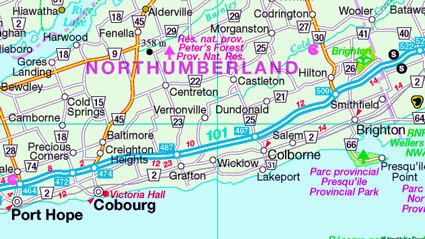 Cobourg and surrounding areas.