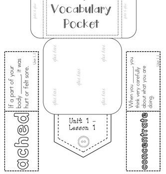 vocabulary pockets with word and definition students can play a matching game or memory game. Black Bedroom Furniture Sets. Home Design Ideas