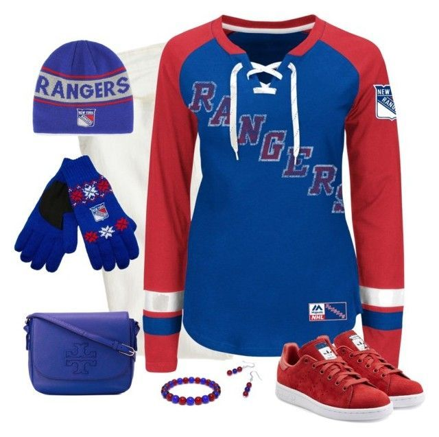 New York Rangers Game Day by carriefdix on Polyvore featuring Majestic, J.Crew, adidas Originals, Tory Burch and Forever Collectibles