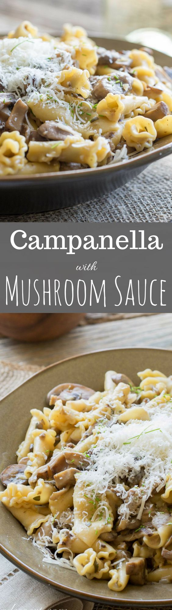 Campanella Pasta with a rich Mushroom Wine Sauce and grated Pecorino Romano- perfect for your meatless Monday dinner or as a hearty side dish.  www.savingdessert...