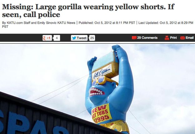 Someone stole a large blue gorilla wearing gold shorts: