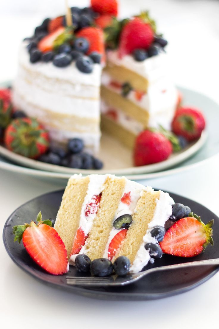 Vegan Vanilla Naked Cake with Berries | Coconut frosting | 4th of July | Dear Kitchen | #vegan #cake #frosting