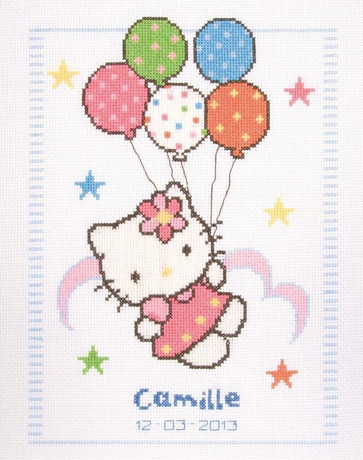 Hello Kitty Balloons Birth Record: Cross stitch (Vervaco, PN-