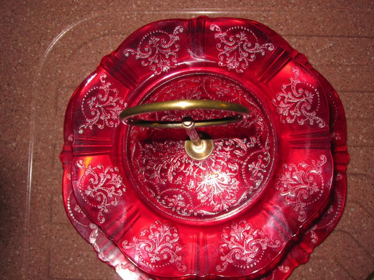 Vintage MacBeth Evans American Sweetheart Depression Glass Red 2 Tier Tidbit