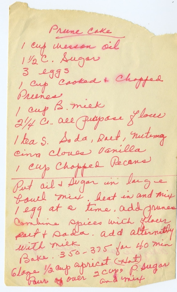 Appalachian Ancestry Journal: Family Recipe Friday-Prune Cake