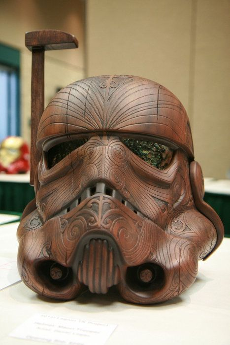 Wooden Maori Storm Trooper Helmet. Made by Daniel Logan from 501st TK Project.