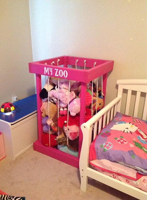 Hot pink wood stuffed animal zoo, my zoo, stuffed animals zoo, zoo for your kids animals, kids room decor, stuffed animal storage, TOY BOX