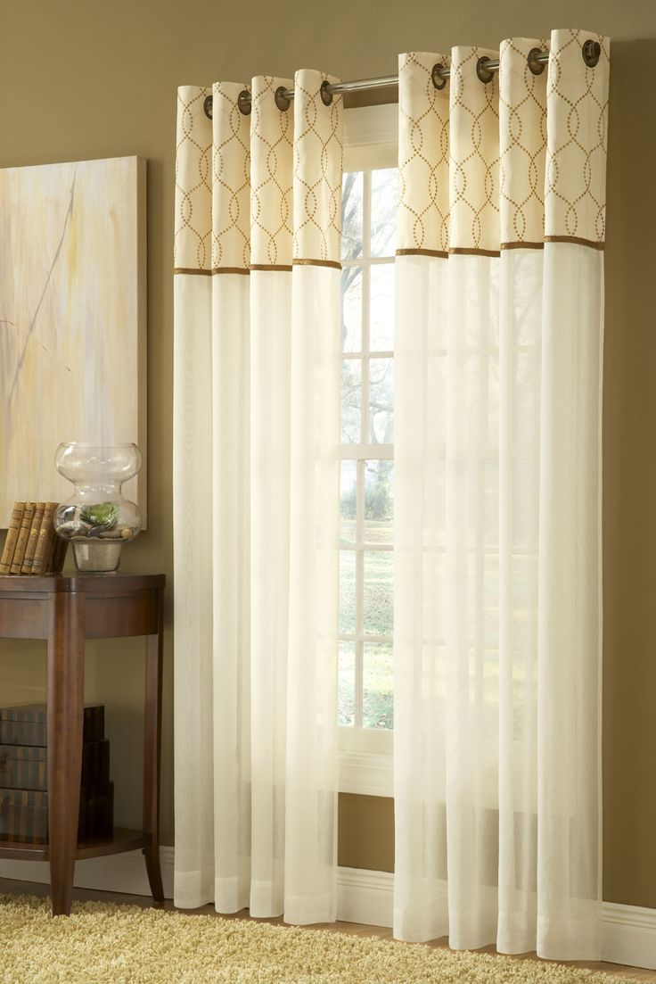 Sheer Cheetah Print Curtains - Contempo sheer grommet panel by stylemaster is a ivory sheer panel with an embroidered band