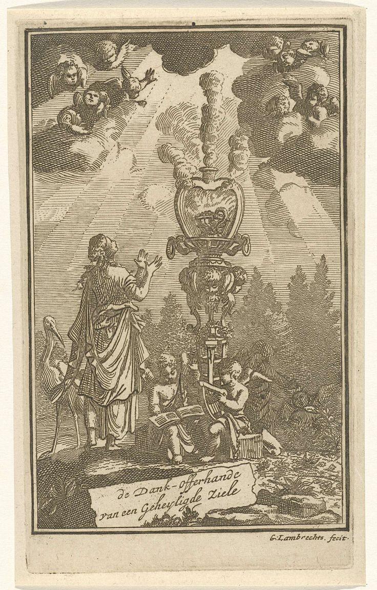 Gerrit Lambrechtsz | Vrouw in aanbidding voor een brandend hart, Gerrit Lambrechtsz, Jacobus Verheyde (I), 1715 | Een vrouw blikt in vervoering naar boven en aanbidt het brandend hart, symbool van goddelijke liefde. Naast haar zitten twee engelen met een muziekblad en een harp. In de hemel zijn engelen verschenen.
