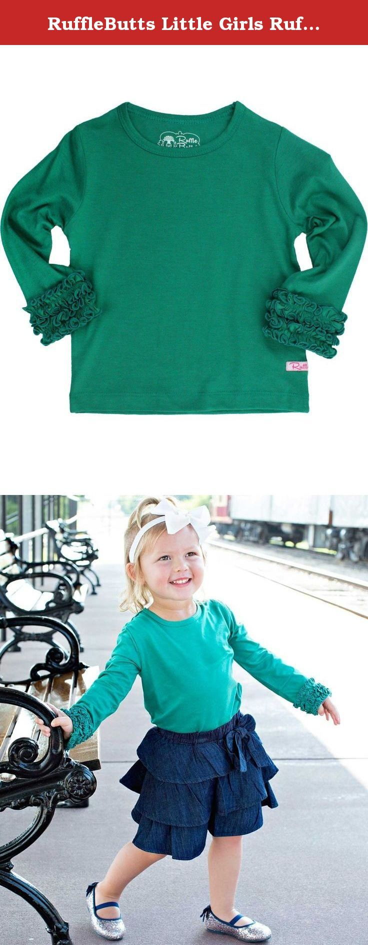 RuffleButts Little Girls Ruffled Long Sleeve Undershirt Tee - Emerald - 4T. Making our RuffleButts apparel even more convenient, this long sleeve Undershirt is the perfect addition to her winter wardrobe. Wear underneath her favorite Swing Top or Ruffle Dress for those cold winter days.
