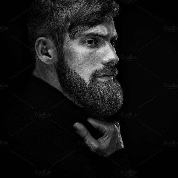 Bearded man looking forward by Usmanov Stock Photography on @creativemarket