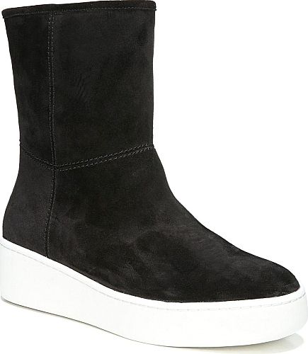 Via Spiga Women's Shoes in Black Suede Color. Courtside style gets a cool-weather update as a minimalist boot set on a platform sneaker sole and lined in genuine shearling.