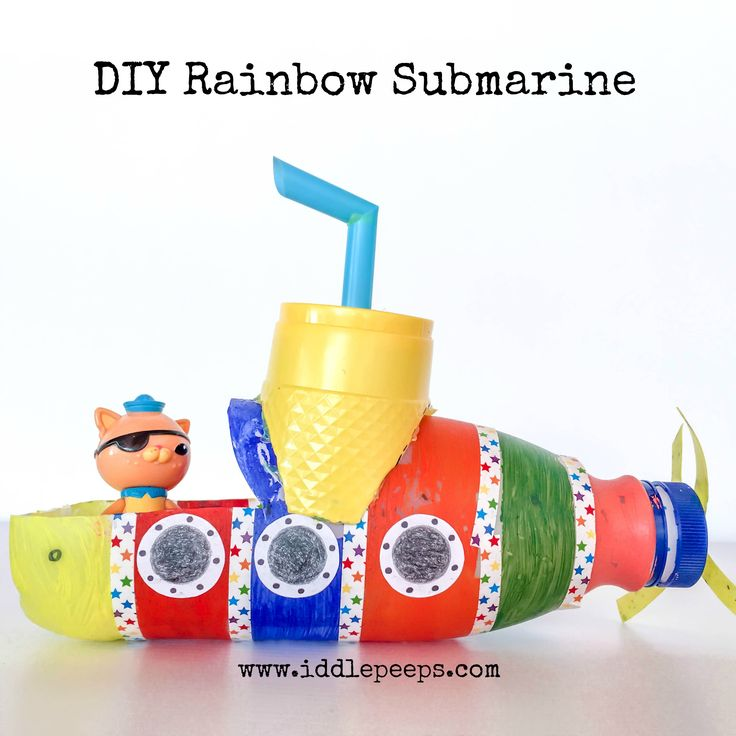 DIY Rainbow Submarine Iddle Peeps this looks like such  a fun recyclable craft!!