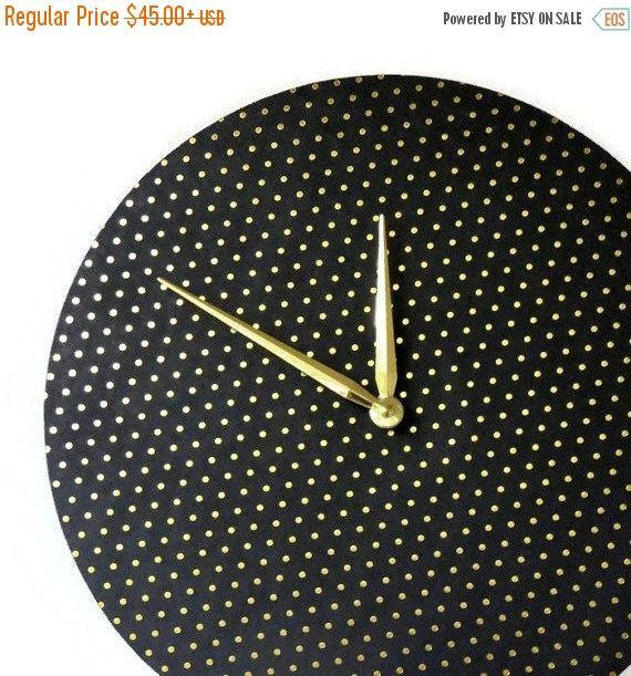 Verkauf, moderne Wanduhr, minimalistische Uhr, schwarz und Gold Uhr, Home und Living, Home Decor, Dekor und Haushaltswaren, einzigartige Wanduhr
