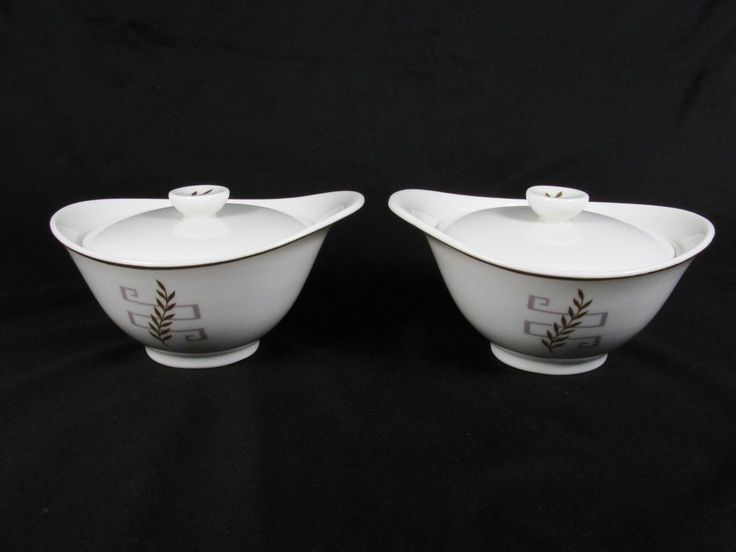DORIAN by SYRACUSE China Set of 2 Covered Sugar Bowl Gold Trim Made in USA #Syracuse #MidCenturyModern