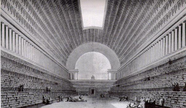 """""""Deuxième projet pour la Bibliothèque du Roi"""", by Etienne-Louis Boullée, from 1785 - Political power through the Public Library"""