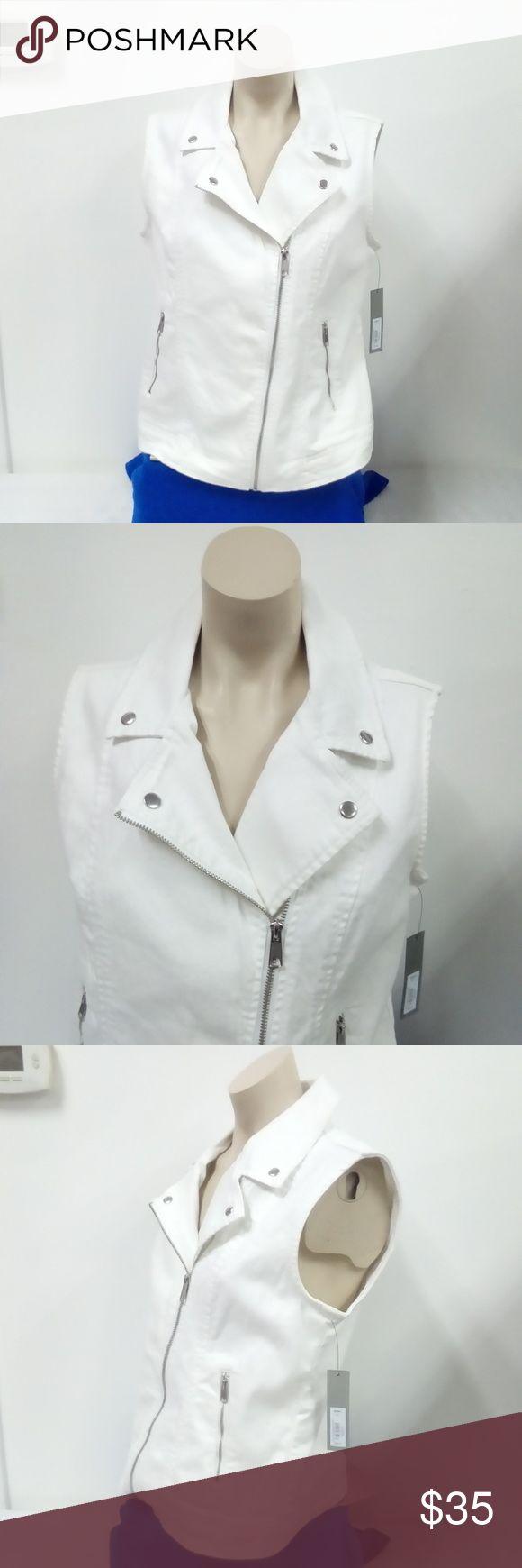 NWT Apt. 9 White Denim Vest Sz. L New and never worn. Front zip closure. Made of white denim. Apt.9 Jackets & Coats Vests