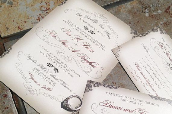 Elegant Script Wedding Invitation with by mybigdaydesigns on Etsy
