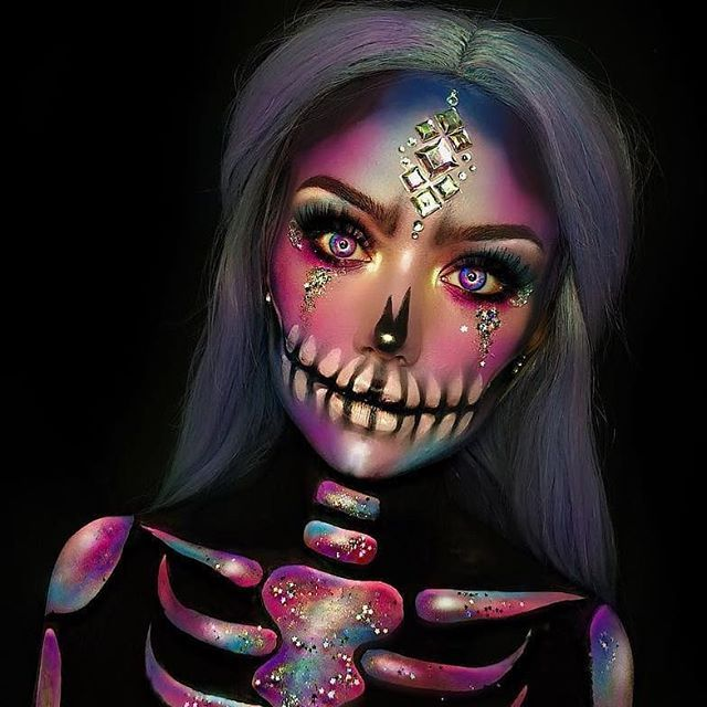 Galaxy Cranium Halloween Make-up Physique Portray Artwork Thought From  @typical_white_girl_s…