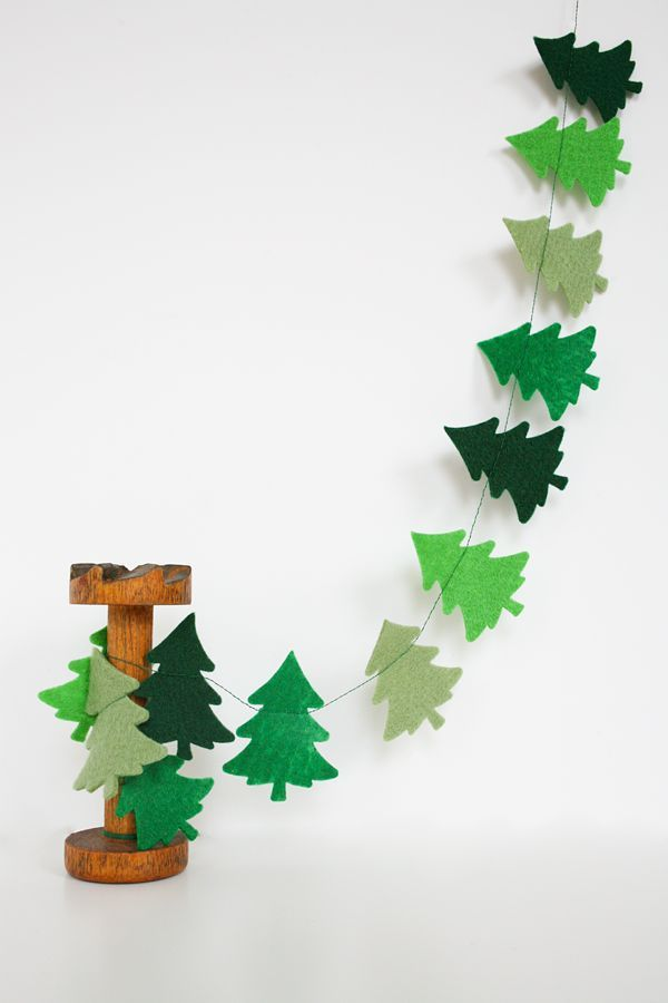 Not a DIY, but could be with felt! Yellow Bird, Yellow Beard | Christmas Trees Felt Garland - Christmas Decor