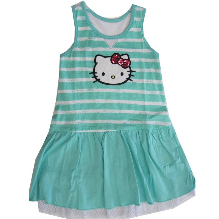 Hello Kitty Little Girls Turquoise White Stripe Glittery Applique Dress 6. A chic Hello Kitty dropped waist dress for your sweet little girl. Kitty glittery applique on a turquoise white striped background and a dropped waist style. Turquoise skirt with fish net. 60% Cotton - 40% Polyester. All sizes based on US standard sizing.