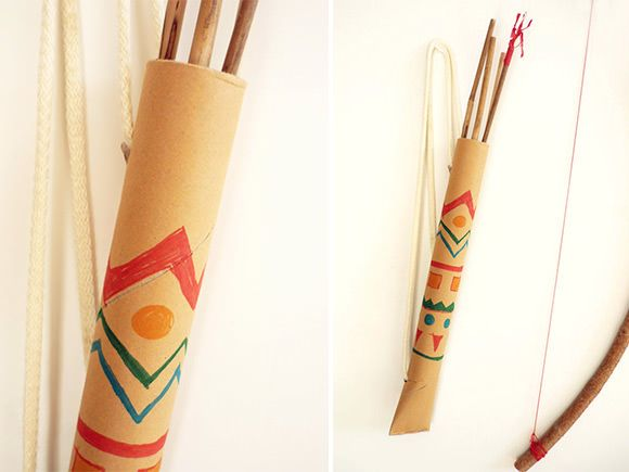 DIY Cardboard Tube Quiver // via domestic candy: Idea, Robins Hoods, Domestic Candy, Paper Towels Rolls, Und Bogen, Diy Bows, Crafts Projects, Indian Parties, Pfeil Und