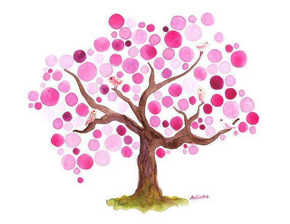Spring Blossoms Watercolour Art Print Tree Artwork Wall Watercolor Art