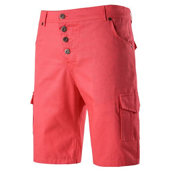 s Solid Color High Waist Knee Length Regular Fit Casual Cargo Shorts (42 BAM) via Polyvore featuring men's fashion, men's clothing, men's shorts, men pants & shorts shorts, rose red, mens cotton cargo shorts, organic cotton men's clothing, mens red cargo shorts, men's apparel and mens cotton shorts