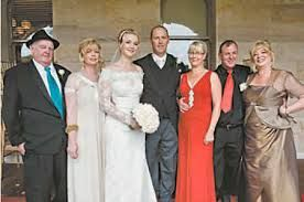 Andy's daughter, Peta's Wedding - from left to right: Grandfather of the bride, Ron Reeder, mother of the bride Kim Reeder-Gibb, the bridal couple, Peta and Matt, Julie Reeder and her husband, Rodney, the bride's uncle, and Kerry Reeder, the bride's aunt.
