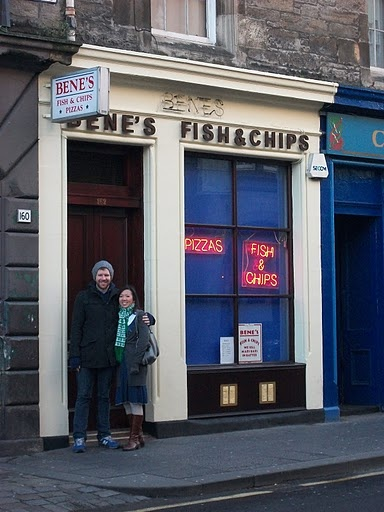 Bene's fish and chips, Edinburgh - in the Canongate section of the Royal Mile, and the nearest chip shop to Craigwell Cottage (http://www.2edinburgh.co.uk)