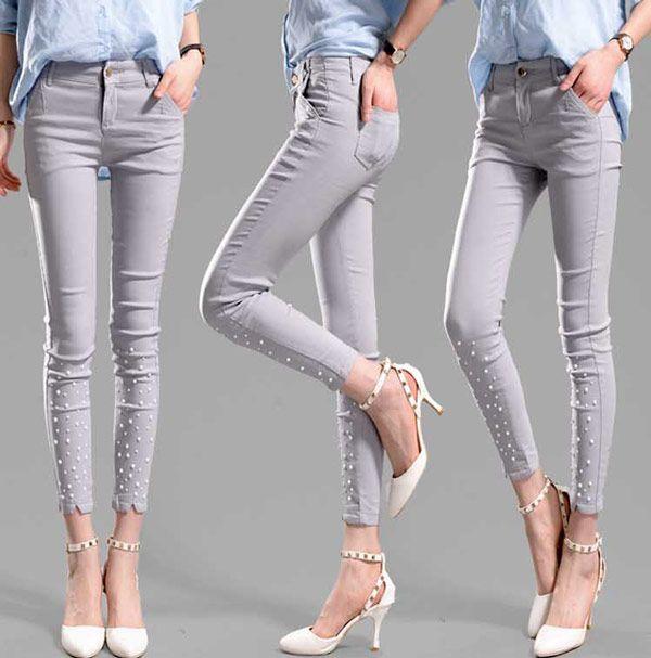 Celana Ketat Wanita Katun Stretch Grey 200K