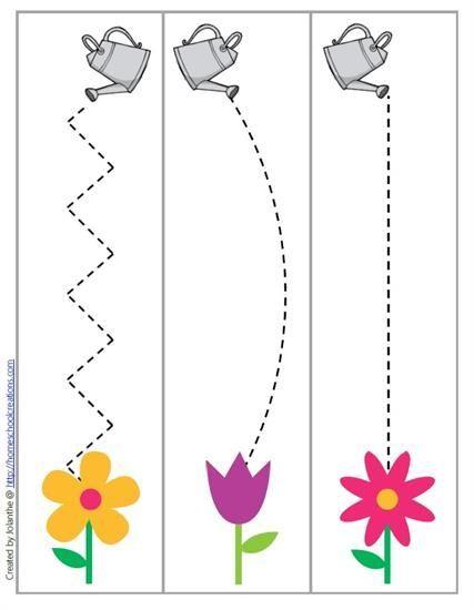 spring garden cutting and fine motor skill preschool printable