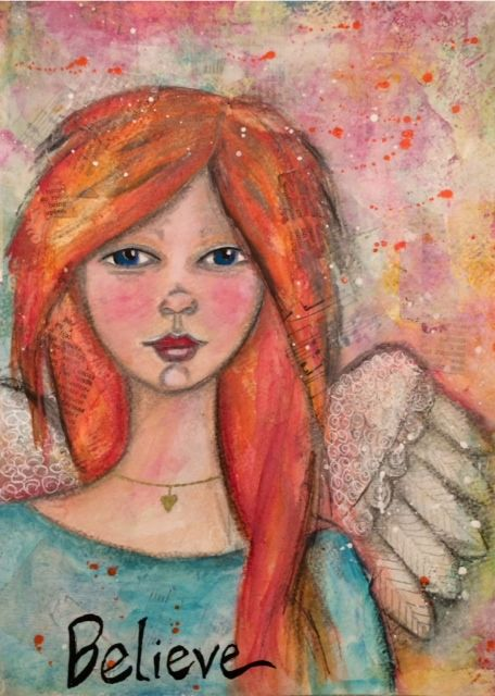 New mixed media guardian angel painting BELIEVE