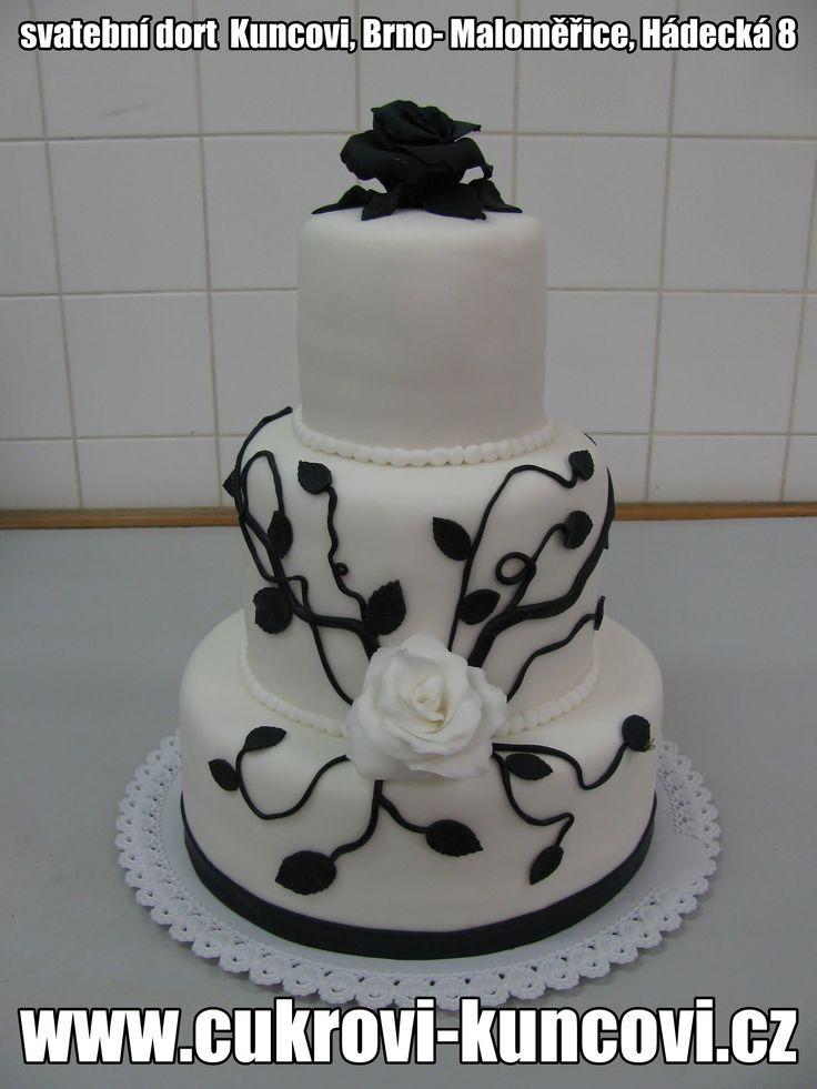 bílo-černý svatební dort