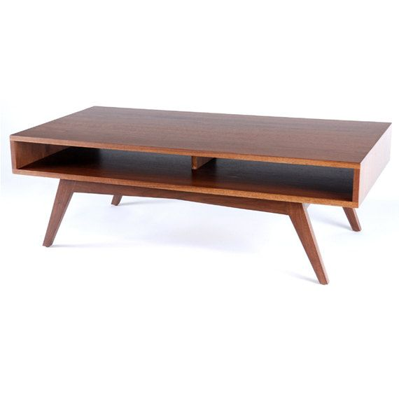 Mid century modern walnut coffee table via etsy for Mid century modern coffee table