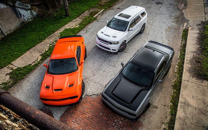 Download imagens 2018 carros, Dodge Durango, SUVs, supercarros, Dodge Challenger SRT Hellcat, os carros americanos, Rodeio