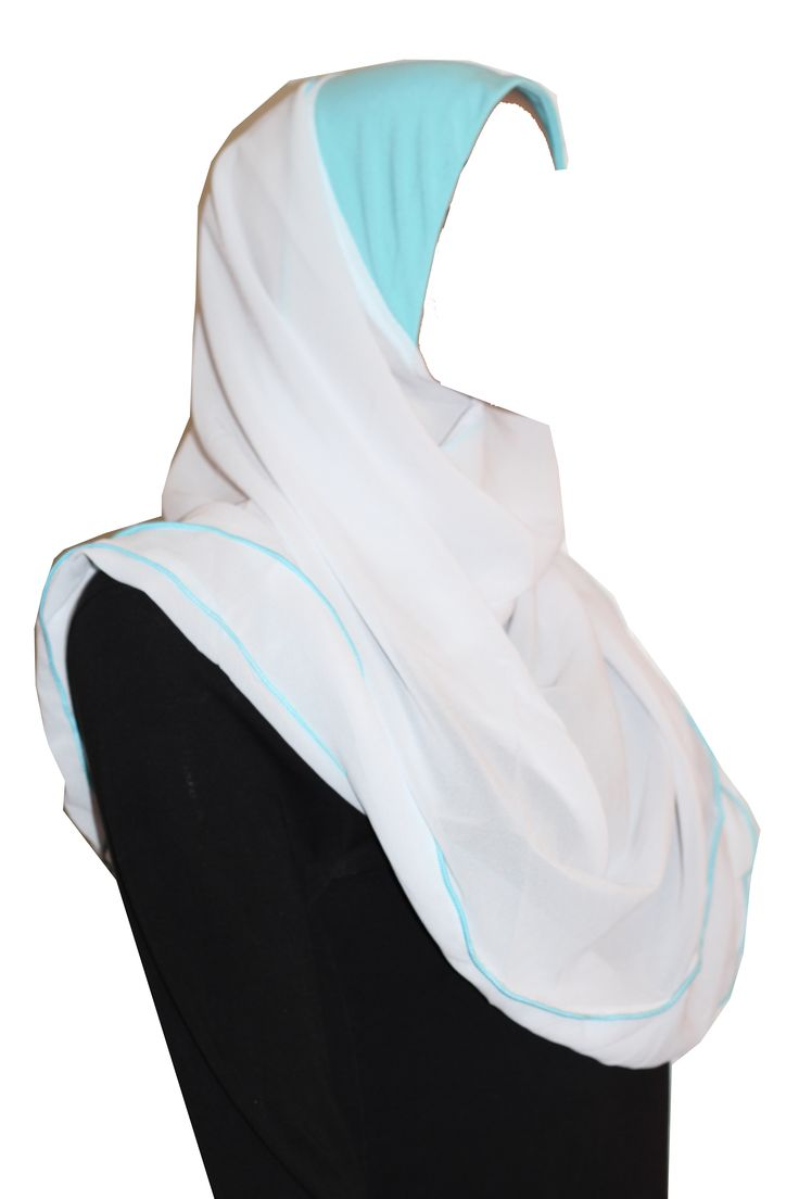 The 2-in-1 Kuwaiti Hijab has a hood that covers head and a wrap-around trimmed shawl. The shawl is attached to one side of the hood making it quicker and easier to put on. Slip the hood on, pull the shawl under the chin and around the neck, and pin it on the other side. We highly recommend a ninja under scarf for this style for a modest look as the shawl is see-through.