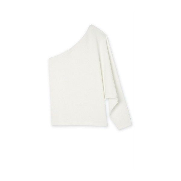 One Shoulder Batwing Top | T-Shirts & Tops ❤ liked on Polyvore featuring tops, off one shoulder tops, white one shoulder top, one shoulder tops, white top and white batwing top