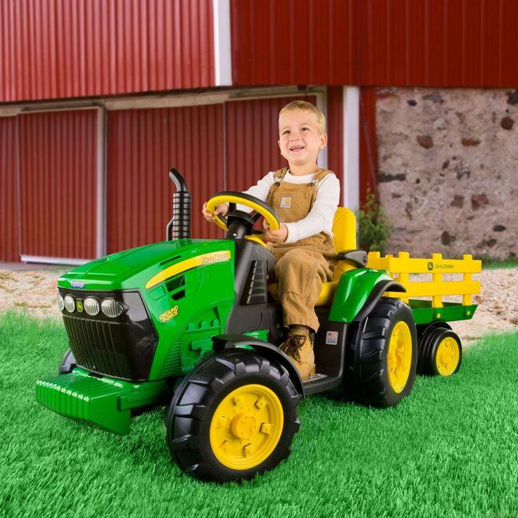 Peg Perego John Deere Ground Tractor & Trailer Battery Powered Riding Toy - Battery Powered Riding Toys at Hayneedle