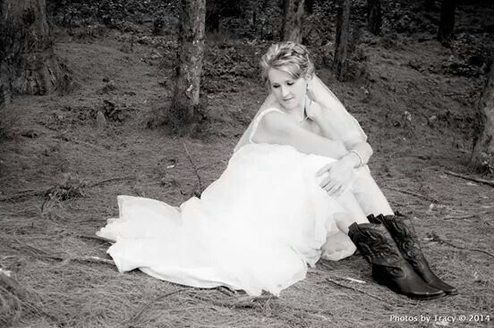 Romantic wedding pose with boots