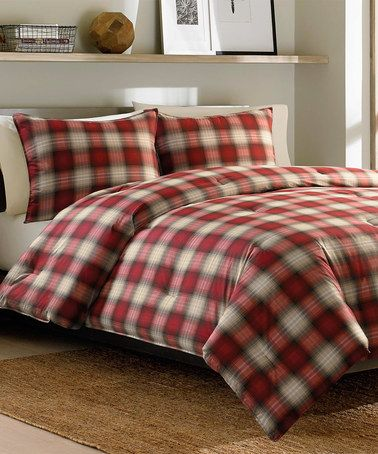 Look what I found on #zulily! Red Navigation Plaid Comforter Set #zulilyfinds