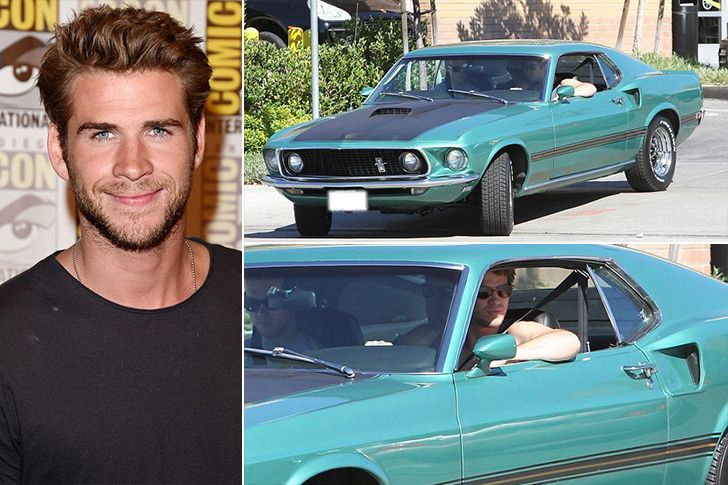 """Liam Hemsworth –1969 Ford Mustang, Estimated $85K Australian actor and on/off fiance' of one Miley Cyrus, Liam Hemsworth has a """"modest"""" garage hosting aMercedes SL, a Chevy SUV and a $200,000 McLaren sports car but our favorite is the1969 Ford Mustang in aqua colors that been adding some style over in the Hollywood Hills. TheRead More"""