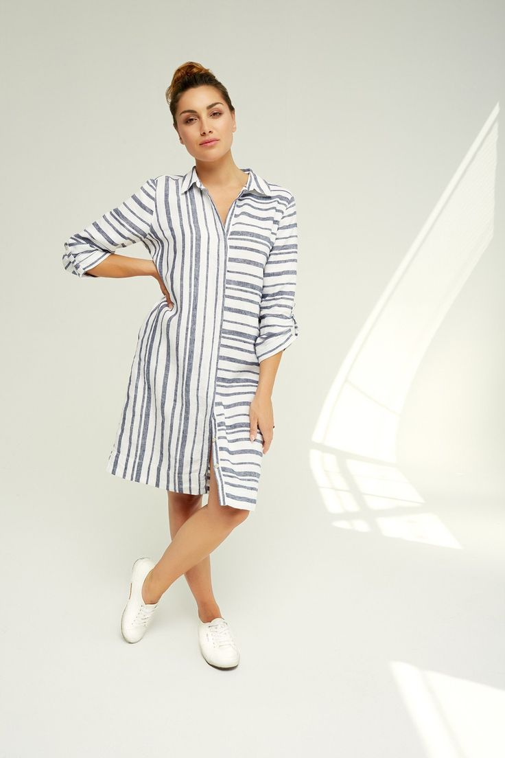 Ping Pong - Linen Striped Shirt Dress - Style No:  435503