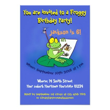 Funny Frog Cartoon Birthday Invitation 6 Years Old
