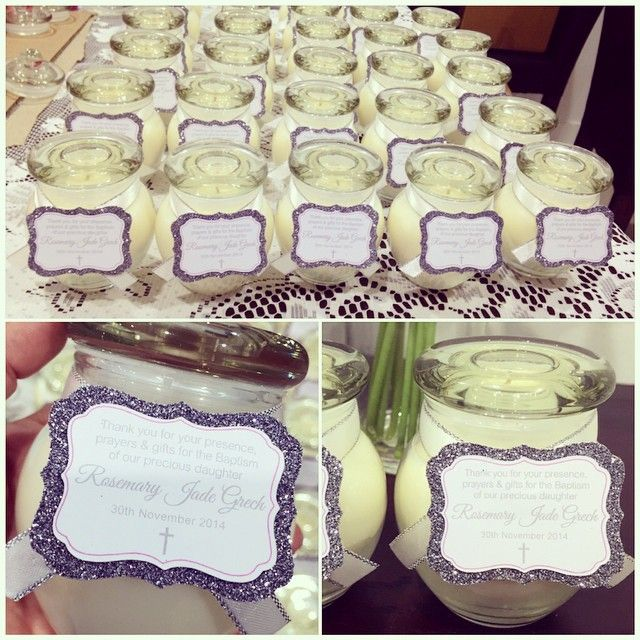 #cute #silver #sparkly #christening #candle #bombonieres made for baby Rosemary #godbless