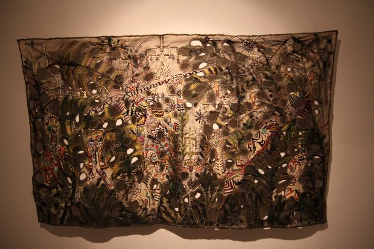 "Zoi Gaitanidou Orison, 2009 acrylic and thread on canvas 170 x 110 cm © the artist Courtesy: Loraini Alimantiri Gazonrouge, Athens Installation view, 2nd Athens Biennale 2009 ""Heaven"""