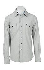 Garth Brooks Sevens by Cinch Men's Solid Heather Grey and Cream Long Sleeve Western Snap Shirt
