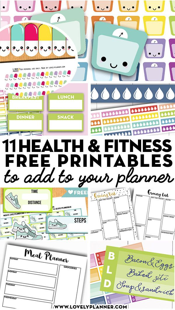11 Free Printable Health and Fitness Planner Stickers and Inserts to Help You Reach Your Goals