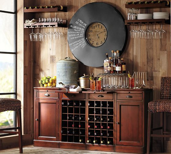 Wine Nook - Modular Bar & Holman Entertaining Shelves  |  Pottery Barn 1 Cabinet Base, 1 Wine Grid Base (distress & refinish, add glass front wine fridge and marble countertop)